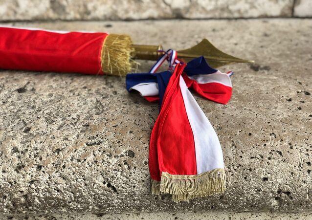 Un drapeau militaire. Image d'illustration