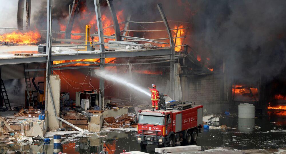 l'incendie au port de Beyrouth le 10 septembre 2020