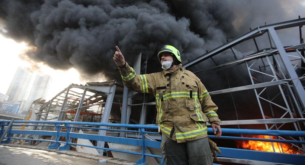 L'incendie dans le port de Beyrouth le 10 septembre