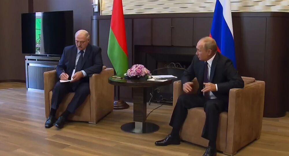 Alexandre Loukachenko et Vladimir Poutine à Sotchi
