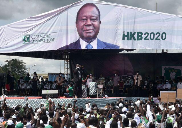 Un meeting du candidat à la présidentielle ivoirienne Henri Konan Bédié