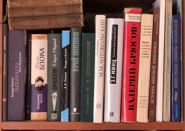 Une bibliothèque, livres russes. Image d'illustration.