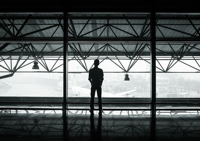Attente. Solitude. Aéroport. Image d'illustration