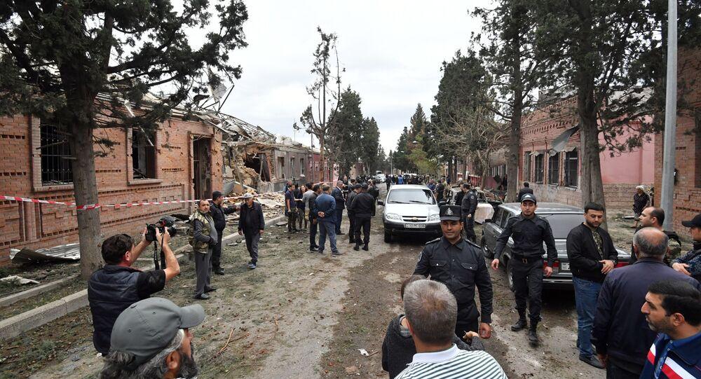 la ville de Ganja après le bombardement