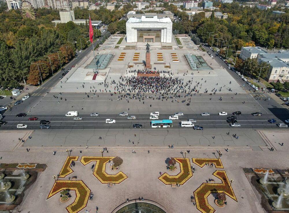 Protestation à Bichkek