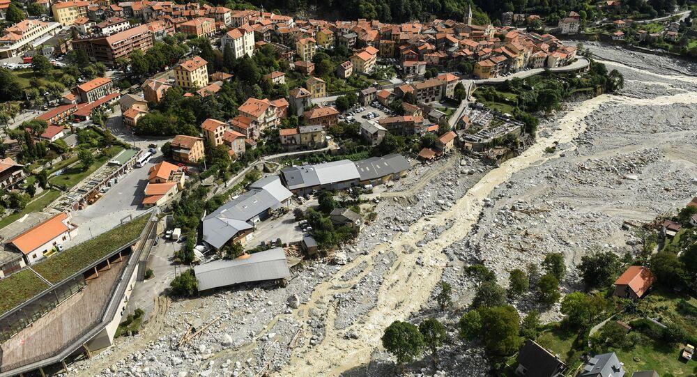 Le village de Saint-Martin-de-Vésubie, trois jours après des crues (octobre 2020)