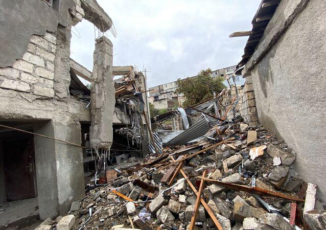 La ville de Stepanakert après un bombardement (6 octobre 2020)