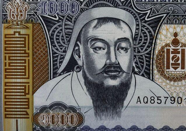 Monnaie mongole à l'effigie de Gengis Khan
