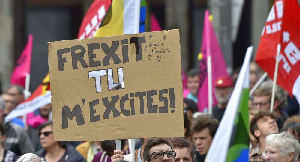 Des manifestants en faveur du Frexit