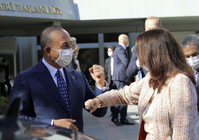 Ann Linde et Mevlut Cavusoglu se disent au revoir en se tapant le coude après les discussions turco-suédoises à Ankara