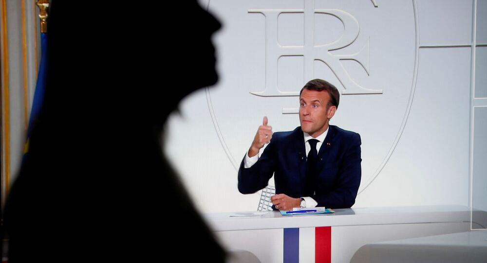 Emmanuel Macron lors de son interview à TF1 et France 2, 14 octobre 2020