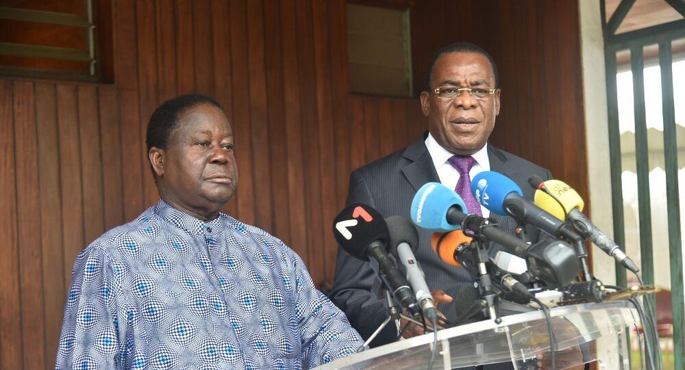 Les candidats Henri Konan Bédié et Pascal Affi N'Guessan lors de leur conférence de presse du 15 octobre 2020