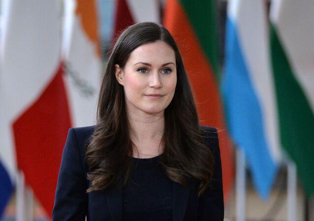 La première ministre finlandaise Sanna Marin lors d'un sommet de l'UE à Bruxelles