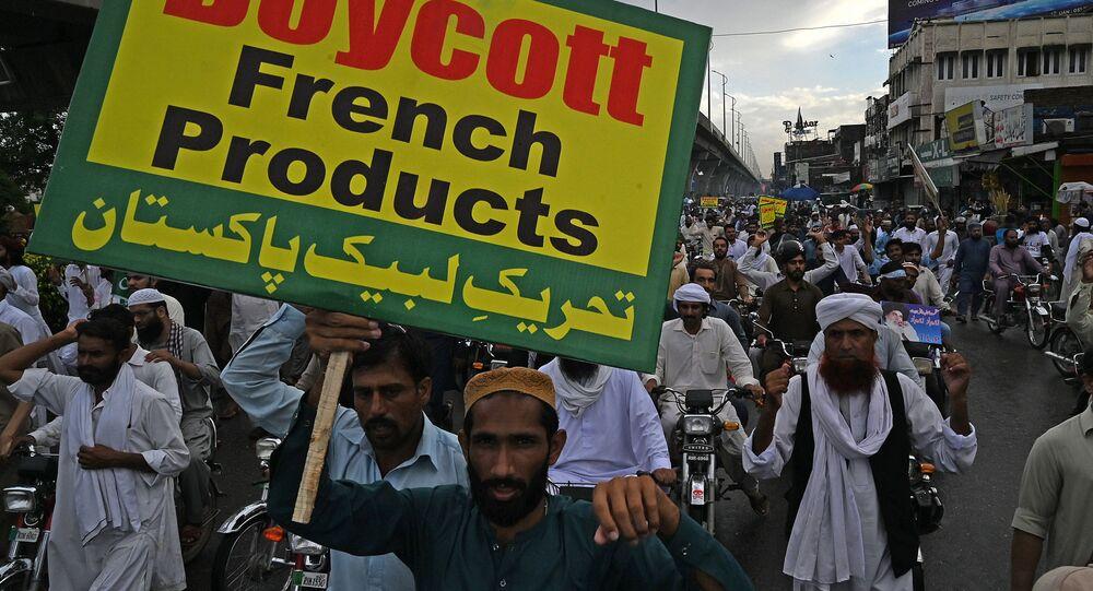 Protestation au Pakistan contre la publication de carricatures par Charlie Hebdo. Image d'illustration