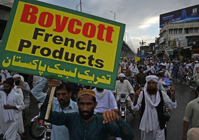 Protestation au Pakistan contre la publication de carricatures par Charlie Hebdo. Image d'illustration