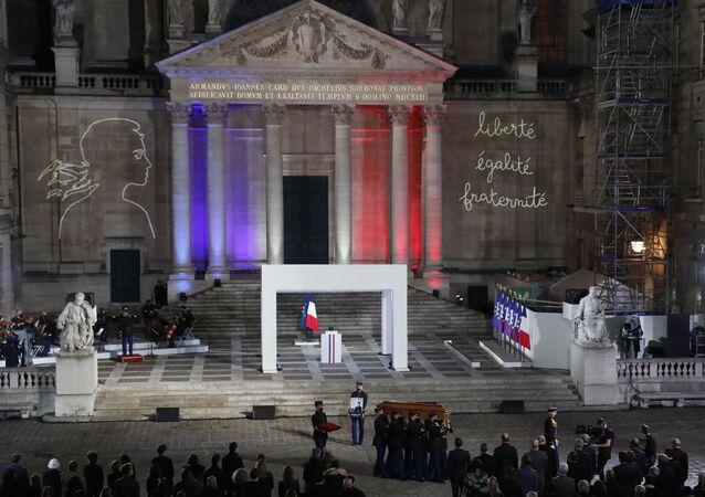 Hommage national au professeur Samuel Paty à la Sorbonne avec la participation d'Emmanuel Macron