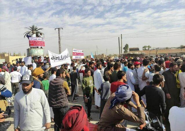 Manifestation contre Emmanuel Macron en Syrie, ce 25 octobre 2020