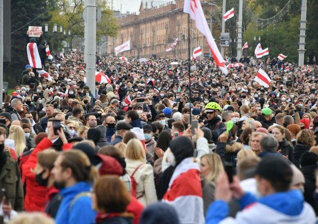 Manifestation à Minsk, le 25 octobre 2020