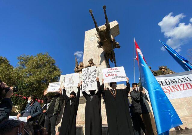 Une manifestation anti-Macron à Istanbul, le 1er novembre