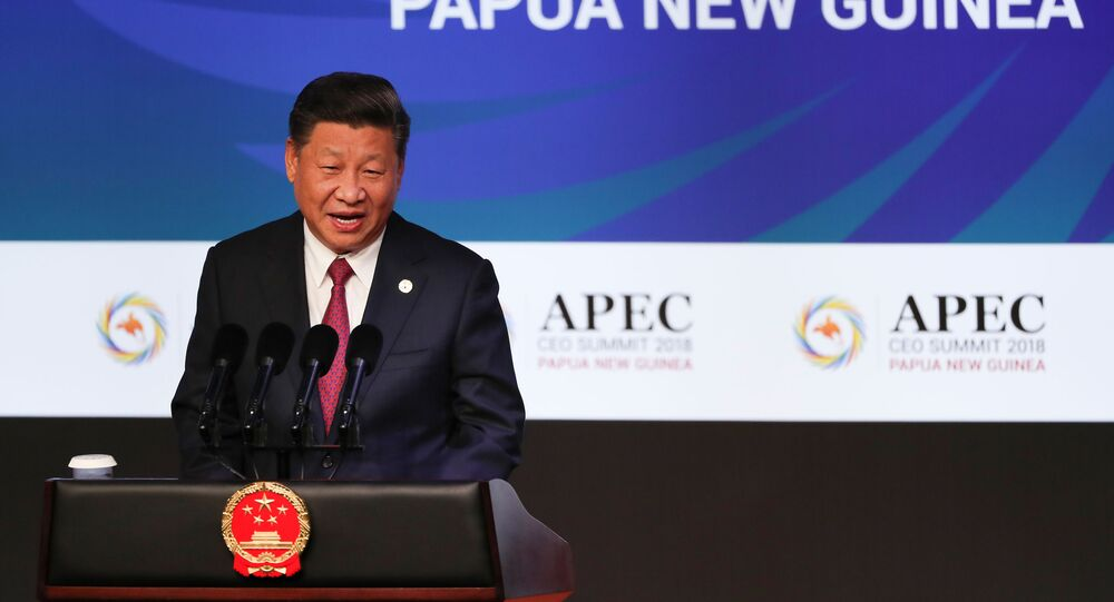 Xi Jinping au sommet de l'APEC en 2018 (Photo by FAZRY ISMAIL / POOL / AFP)