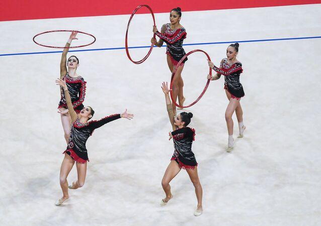 gymnastes françaises lors du Championnats du monde de gymnastique rythmique 2018 à Sofia