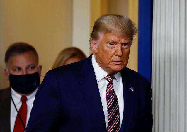 Le Président américain Donald Trump lors d'une conférence de presse à la maison-Blanche pour évoquer les résultats de l'élection présidentielle. 5 novembre 2020