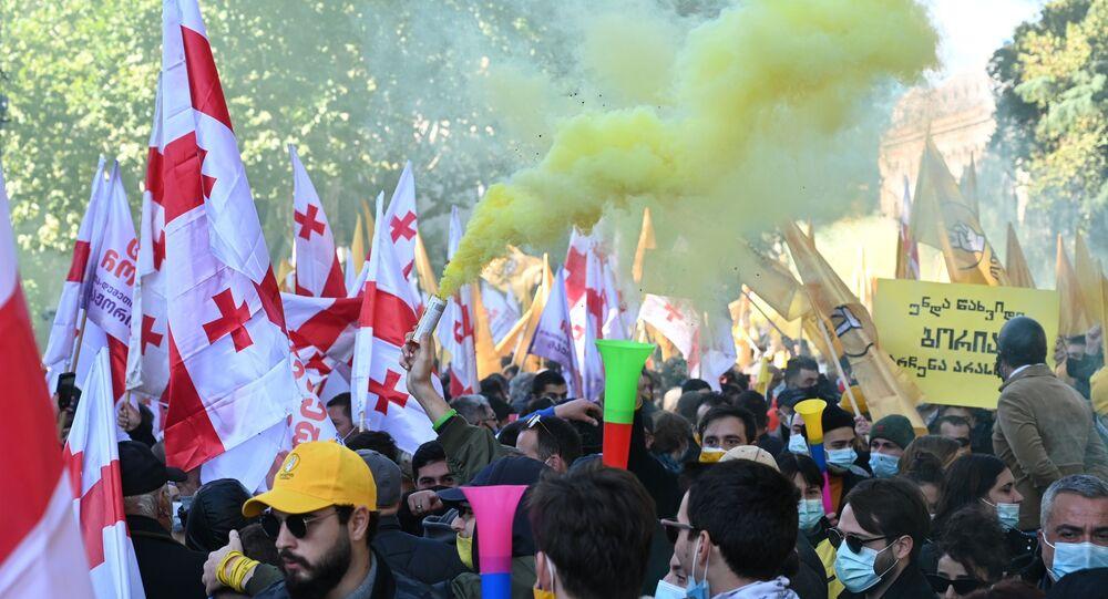 Une manifestation à Tbilissi (8 novembre 2020)