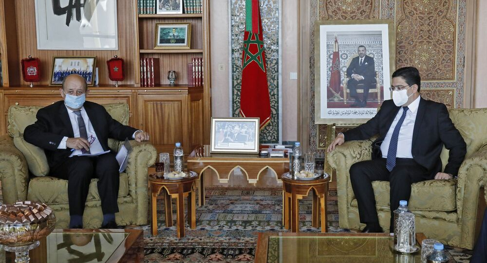 Le ministre des Affaires étrangères français Jean-Yves Le Drian et son homologue marocain Nasser Bourita