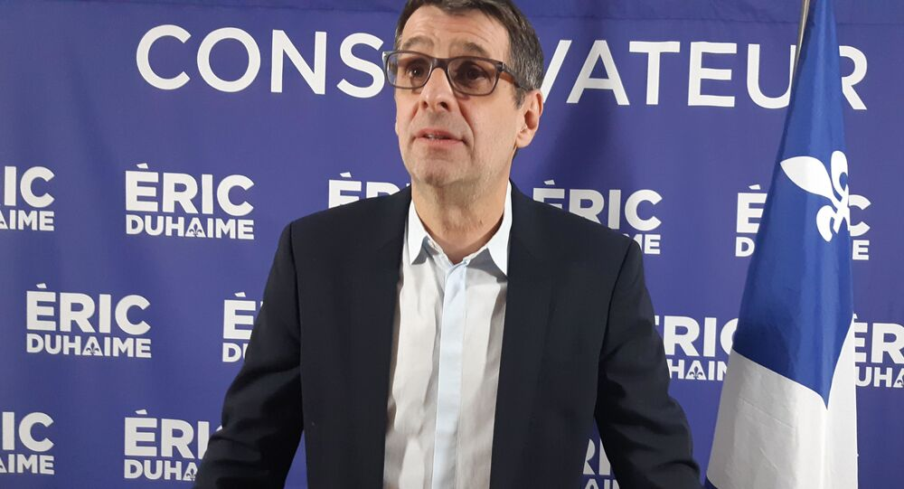 Éric Duhaime, animateur radio et essayiste québecois, candidat du Parti conservateur à l'élection provinciale de Québec en 2022.