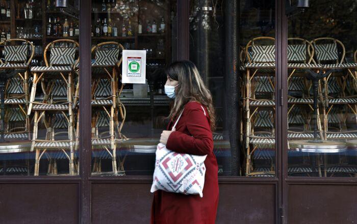 Restaurant fermé à Paris, le 18 novembre 2020
