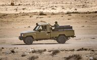 Un véhicule des forces armées marocaines au passage d'El-Guerguerat, entre le Maroc et la Mauritanie