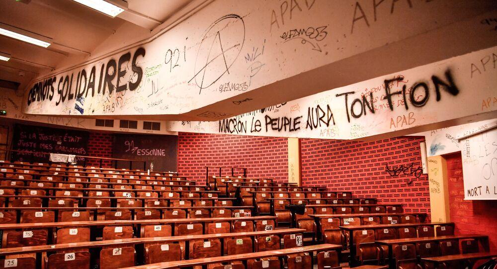 L'université de Tolbiac (Paris I-Sorbonne), en avril 2018 lors des blocages des facultés