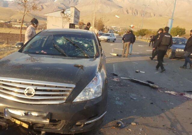 Sur les lieux de l'assassinat Mohsen Fakhrizadeh
