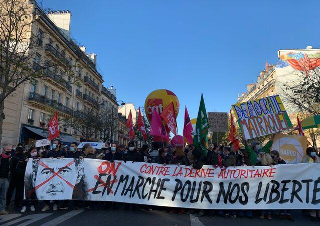Manifestation à Paris contre la loi Sécurité globale, le 28 novembre 2020