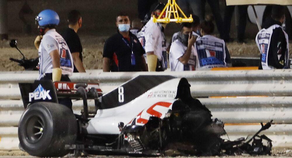La monoplace de Romain Grosjean après l'accident lors du Grand Prix de Bahreïn