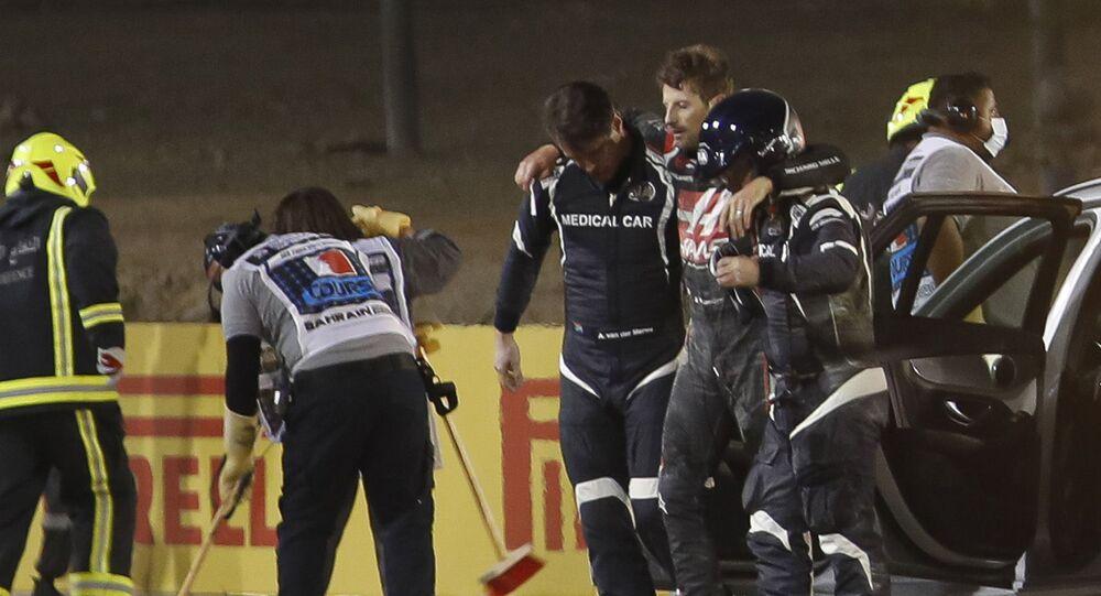 Romain Grosjean après un crash au Grand Prix de Bahreïn