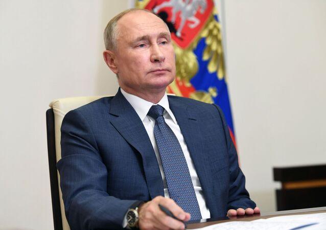 Vladimir Poutine lors d'une visioconférence