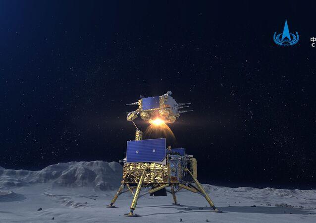 Décollage du module de remontée de Chang'e-5 depuis la surface lunaire (image de l'Administration spatiale nationale chinoise)