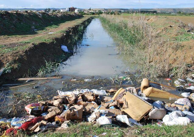 «Le fossé» rempli d'eau polluée, traversant des terres agricoles.