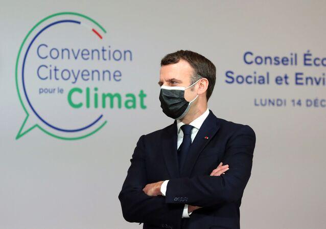Emmanuel Macron lors d'une rencontre avec la Convention citoyenne pour le climat, le 14 décembre 2020