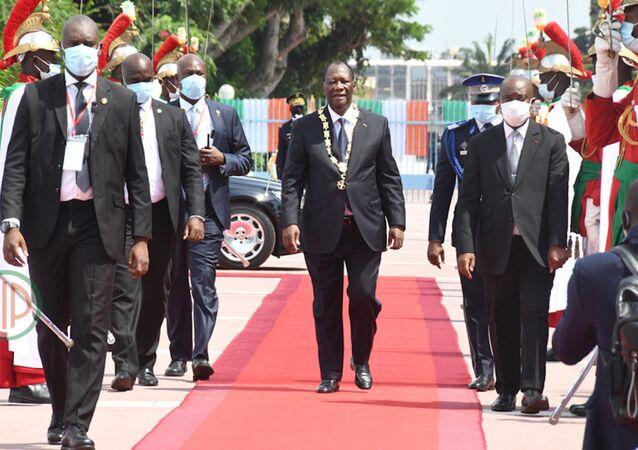 Cérémonie d'investiture du Président ivoirien Alassane Ouattara au palais présidentiel.
