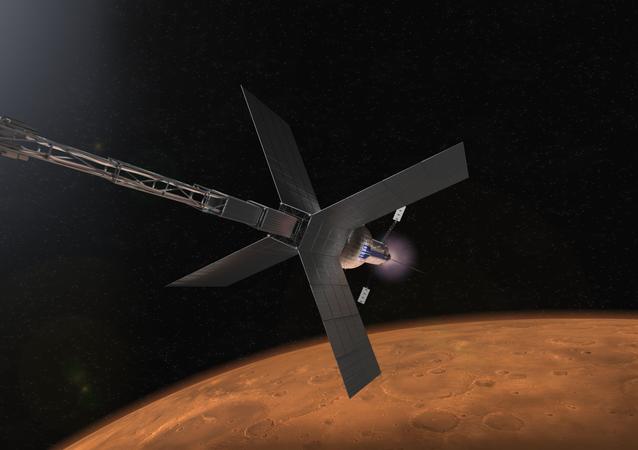 Illustration de la NASA représentant un vaisseau spatial à propulsion nucléaire qui pourrait un jour transporter des astronautes sur Mars