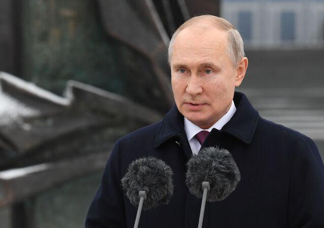 Vladimir Poutine au siège du Service de renseignement extérieur (SVR) russe