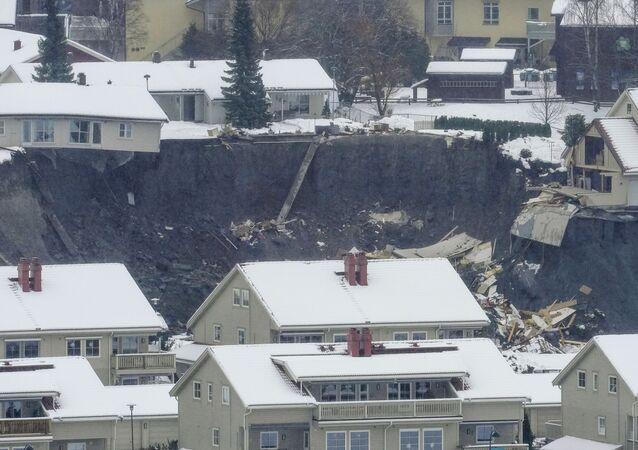 Un glissement de terrain en Norvège