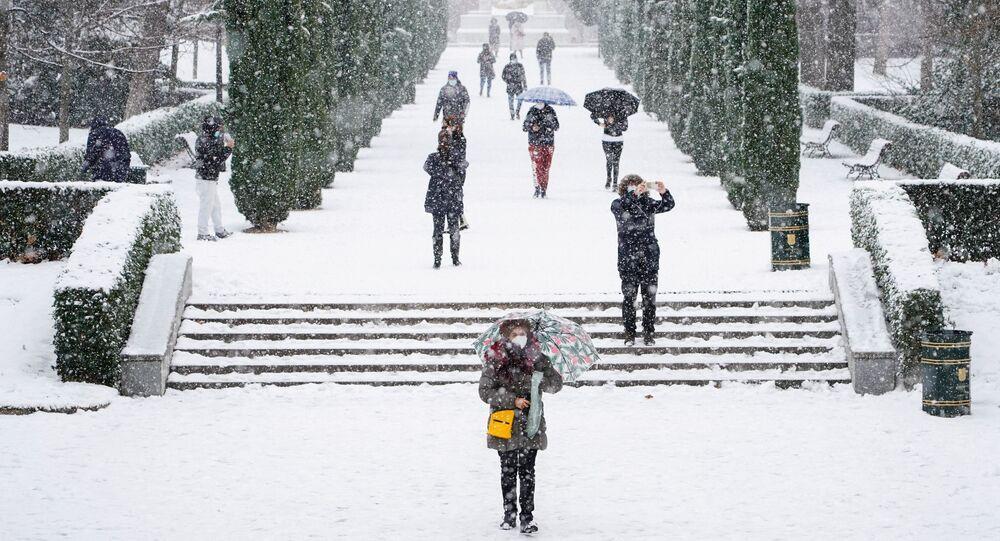 Chutes de neige à Madrid, le 8 janvier 2021