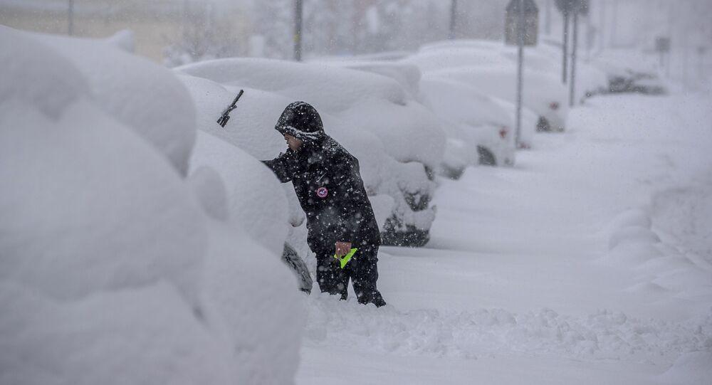 Chutes de neige à Madrid