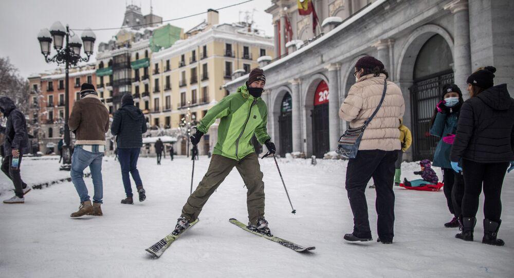 Madrid après une tempête de neige, le 9 janvier 2021