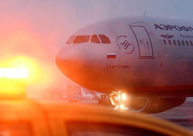 Un avion de la compagnie aérienne Aeroflot à l'aéroport de Moscou-Cheremetievo
