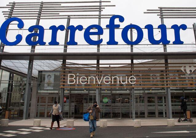 Un supermarché de Carrefour à Saint-Herblain, le 12 janvier