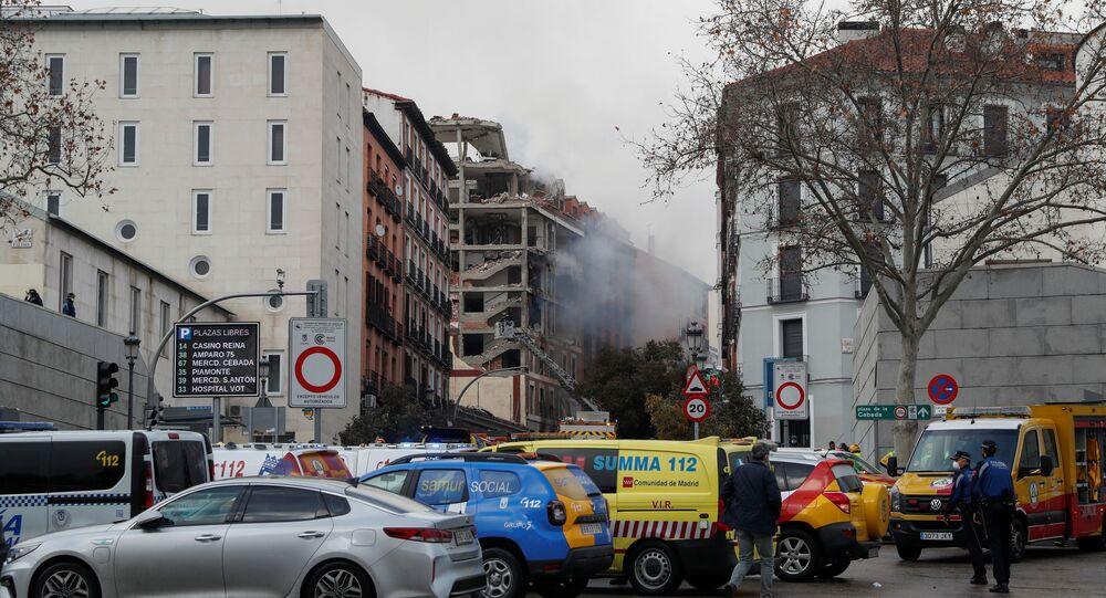 Les lieux de l'explosion à Madrid, le 20 janvier